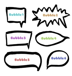 Set of hand drawn black marker bubbles vector