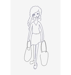 A sketch of a tired young woman with shopping bags vector