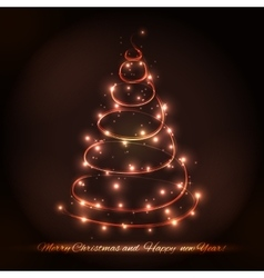 Abstract Christmas tree made of sparkles and vector image vector image