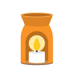 Aroma lamp and scented candle icon for spa vector