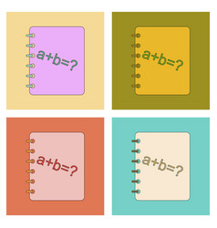 Assembly flat icons math book vector