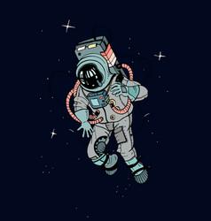 Astronaut in spacesuit cosmonaut in space on the vector