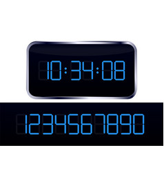 Blue digital clock and number set vector