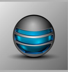 blue sphere as emblem vector image vector image