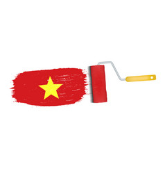 brush stroke with vietnam national flag isolated vector image