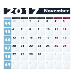 Calendar 2017 november design template vector