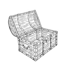 Cartoon drawing of old empty open pirate chest vector