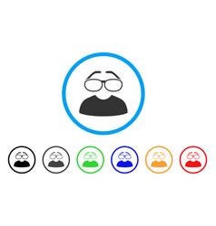 clever spectacles rounded icon vector image