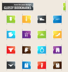 Clothing store bookmark icons vector