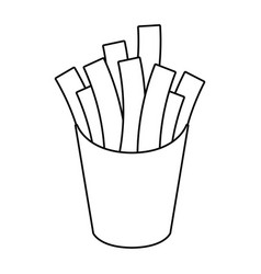 French fries fast food thin line vector