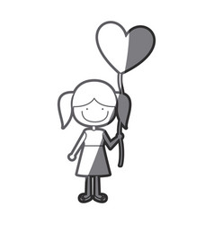 grayscale silhouette of caricature of smiling girl vector image