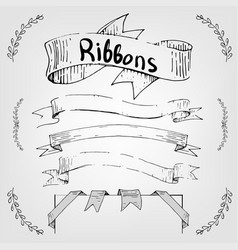 hand drawing ribbons and banners for text vector image