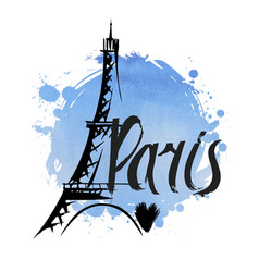 hand drawn eiffel tower paris vector image vector image
