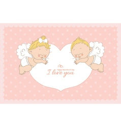 I love you card with two cupids horizontal vector image vector image
