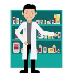 Male pharmacist in a pharmacy opposite the shelves vector