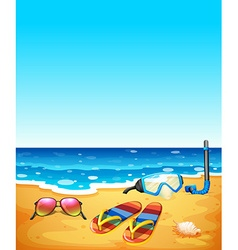Nature scene with beach and sea vector