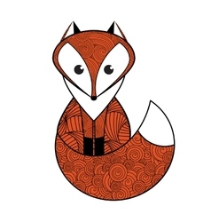Patterned red fox vector image