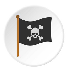 Pirate flag icon circle vector