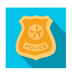 Police badge icon in flat style isolated on white vector