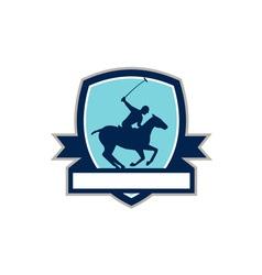 Polo player riding horse crest retro vector