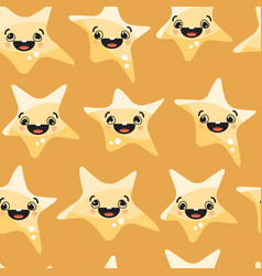 stars smiley on yellow background seamless vector image