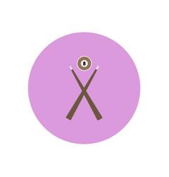 Stylish icon in color circle billiard ball cue vector
