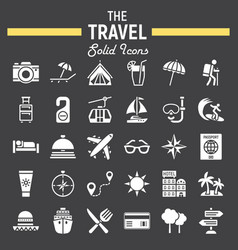 Travel solid icon set tourism symbols collection vector