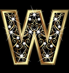 W gold letter with swirly ornaments vector image