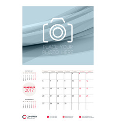 Wall calendar planner template for 2017 year vector