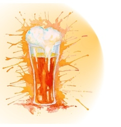 Watercolor glass of beer vector image