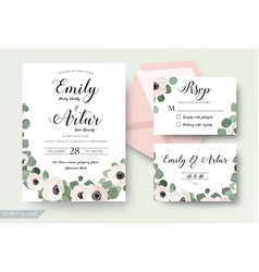 Wedding invitation floral invite rsvp thank you vector