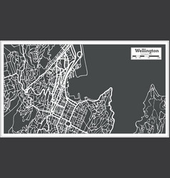 Wellington new zealand city map in retro style vector
