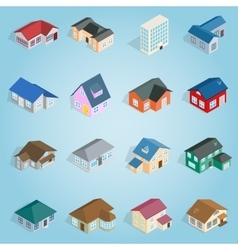 Town house cottage set icons isometric 3d style vector