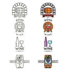 Wine line logo or winery logotype set vector image