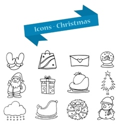 Hand draw of christmas object icons vector