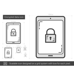 Encrypted data line icon vector