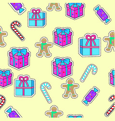 Gift boxes candy sticks gingerbread boy seamless vector