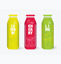 bottle with drawing lemon lime and cherry vector image