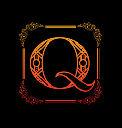 Letter q with ornament vector