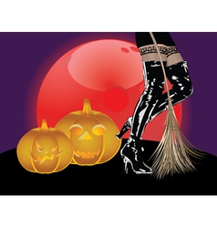 Legs in high boots and broom vector