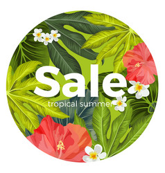 Sale promotion card with tropical flowers and vector