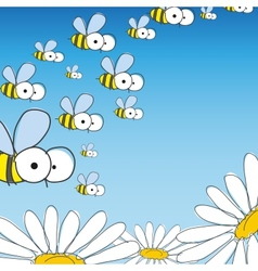 Bee and daisy spring background vector
