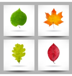 Set of backgrounds with triangular leaves vector