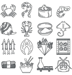 Black line icon collection of sea food vector