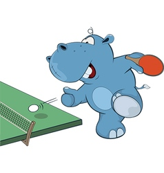 Little hippo playing table tennis vector