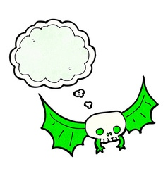 Cartoon spooky skull bat with thought bubble vector