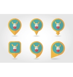 Donkey mapping pins icons vector