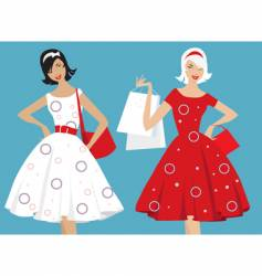 retro girls shopping vector image