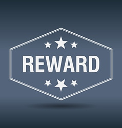 Reward hexagonal white vintage retro style label vector