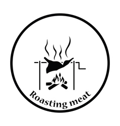 Roasting meat on fire icon vector